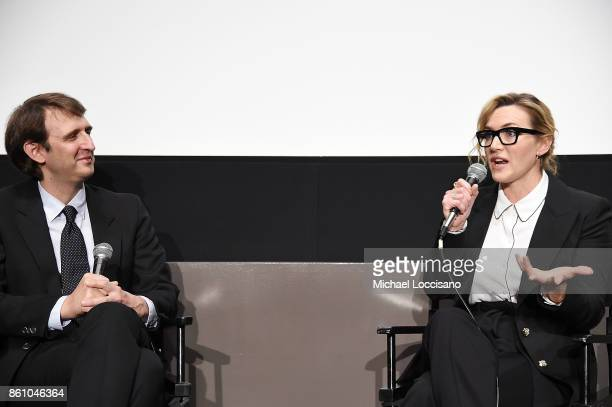 Writer Nicolas Rapold and actress Kate Winslet take part in a conversation during the 55th New York Film Festival at the Elinor Bunin Munroe Film...