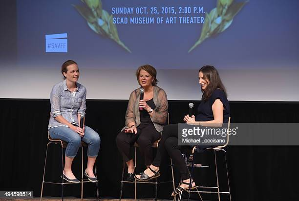Writer Nora Smith, and writer Holly Schlesinger speak on stage with Executive Director of Writers Guild Foundation Katie Buckland during WGA Presents...