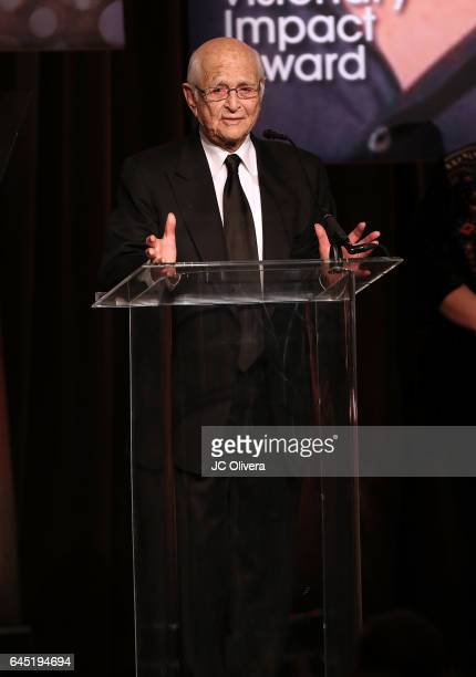 Writer Normal Lear speaks onstage during the 20th Annual National Hispanic Media Coalition Impact Awards Gala at Regent Beverly Wilshire Hotel on...