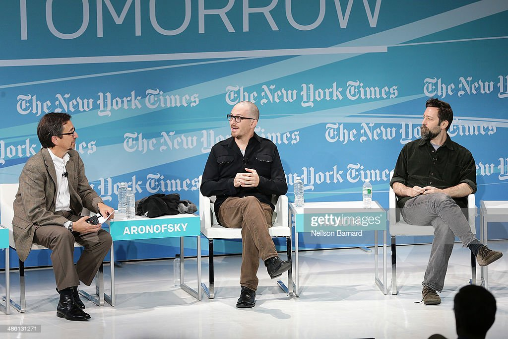 Writer of Dot Earth Blog at The New York Times Andrew Revkin and filmmakers Darren Aronofsky and Ari Handel participate in a panel discussion at the New York Times Cities for Tomorrow Conference on April 22, 2014 in New York City.