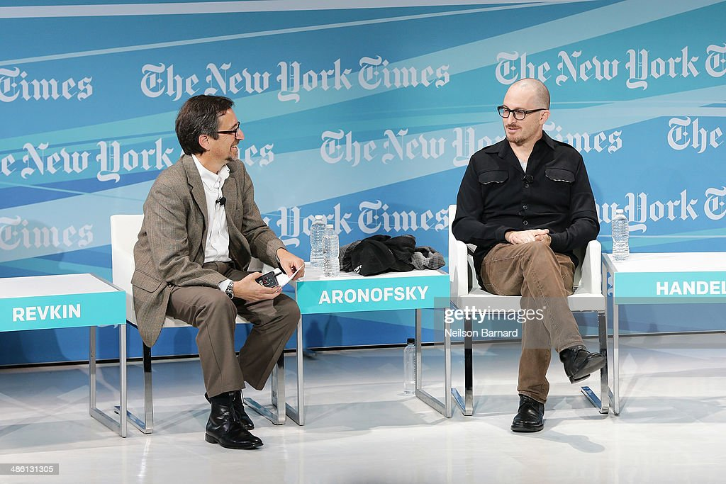 Writer of Dot Earth Blog at The New York Times Andrew Revkin (L) and filmmaker Darren Aronofsky participate in a panel discussion at the New York Times Cities for Tomorrow Conference on April 22, 2014 in New York City.