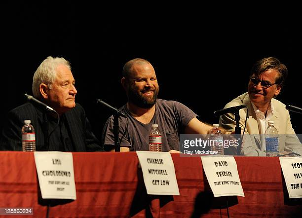 """Writer of """"The King's Speech"""" David Seidler Writer of """"The Fighter"""" Scott Silver and Writer of """"The Social Network"""" Aaron Sorkin onstage at the It..."""