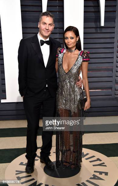 Writer Ol Parker and actress Thandie Newton attend the 2017 Vanity Fair Oscar Party hosted by Graydon Carter at Wallis Annenberg Center for the...