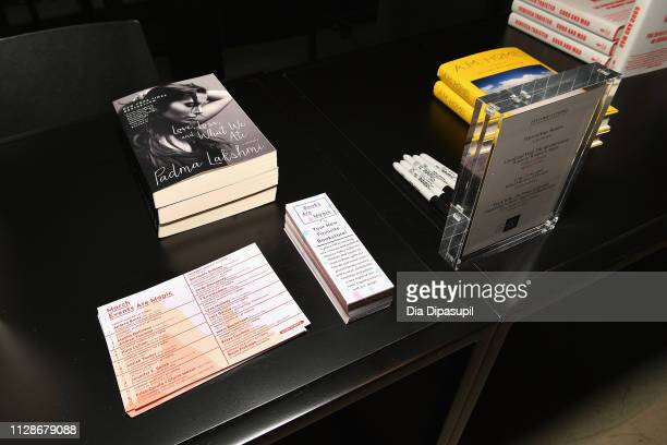 Writer Padma Lakshmi's book Love Loss and What We Ate A Memoir is displayed at The Cut's How I Get It Done at 1 Hotel Brooklyn Bridge on March 4 2019...