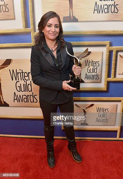 Writer Pamela Adlon poses with the Best Comedy Series award during the 2015 Writers Guild Awards L.A. Ceremony at the Hyatt Regency Century Plaza on...