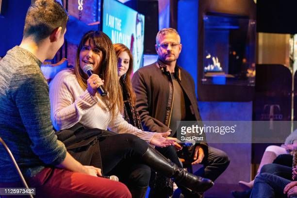 Writer Patrick Gomez director Patty Jenkins actress India Eisley and writer Sam Sheridan speak on a panel at the 'I Am the Night' screening at Tupelo...