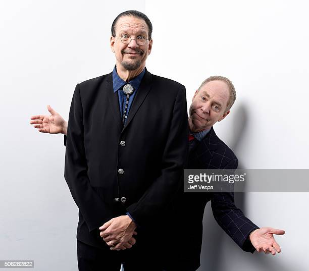 Writer Penn Jillette and Teller from the film Director's Cut pose for a portrait during the WireImage Portrait Studio hosted by Eddie Bauer at...