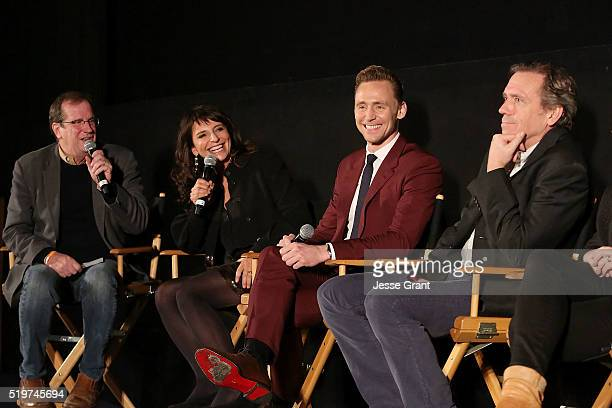 Writer Pete Hammond producer/director Susanne Bier actors Tom Hiddleston and Hugh Laurie attend the ATAS/SAG Panel and Screening of AMC's The Night...
