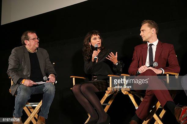 Writer Pete Hammond producer/director Susanne Bier and actor Tom Hiddleston attend the ATAS/SAG Panel and Screening of AMC's The Night Manager at the...