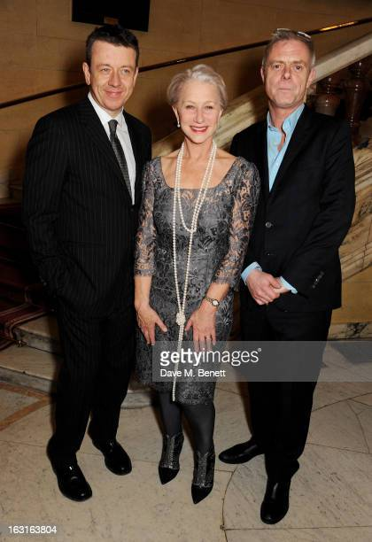 Writer Peter Morgan Dame Helen Mirren and director Stephen Daldry attend an after party following the press night performance of 'The Audience' at...