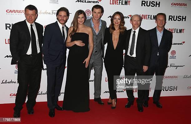Writer Peter Morgan Daniel Bruhl Alexandra Maria Lara Chris Hemsworth Olivia Wilde director Ron Howard and producer Andrew Eaton attends the Rush...