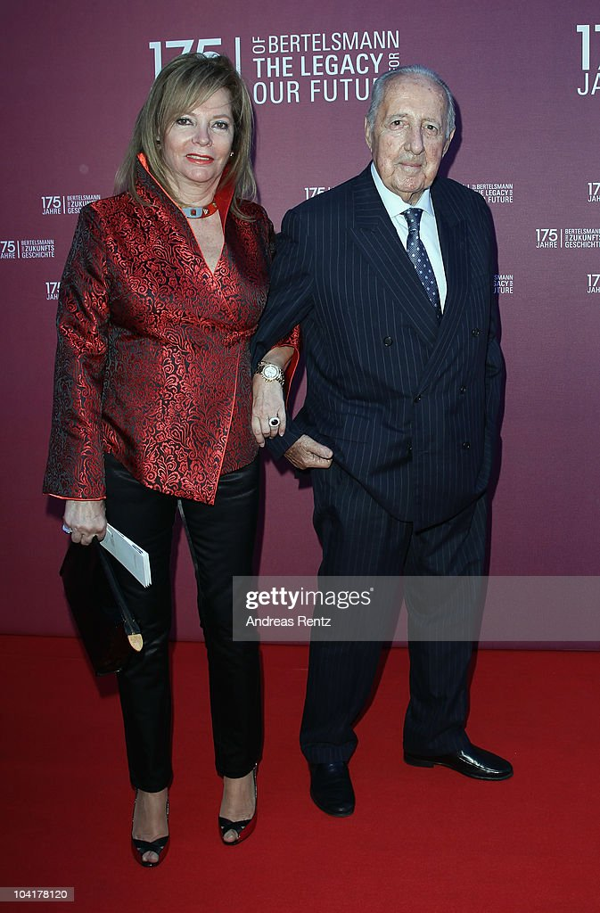 Writer Peter Scholl-Latour and his wife Eva Scholl-Latour arrive for the Bertelsmann 175 years celebration ceremonial act at the Konzerthaus am Gendarmenmarkt on September 16, 2010 in Berlin, Germany.