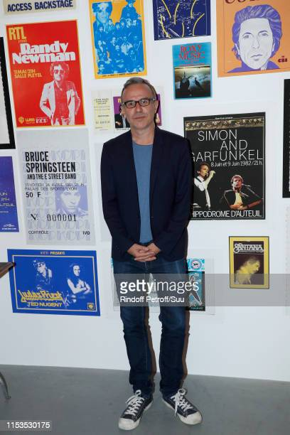 Writer Philippe Besson attends Albert Koski exposes its Rock&Roll Posters Collection at Galerie Laurent Godin on June 03, 2019 in Paris, France.