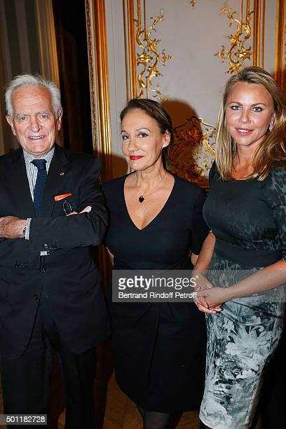 Writer Philippe Labro Journalist Laurence Haim and CBS Chief Foreign Affairs Correspondent Lara Logan on December 12 2015 in Paris France