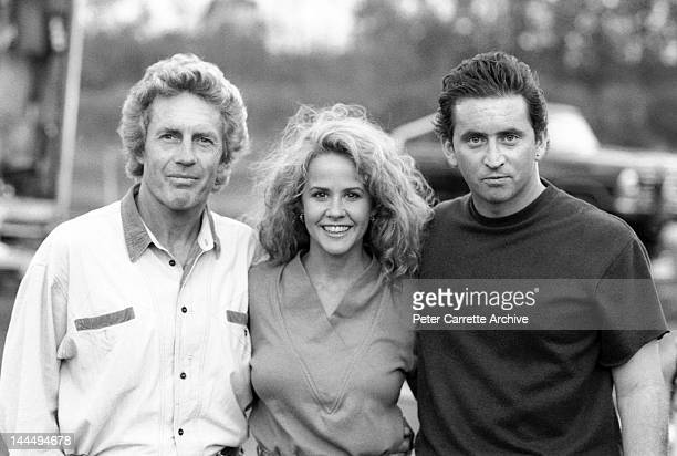 Writer Phillip Avalon with actors Linda Blair and Donal Gibson on the set of the film 'Fatal Bond' on location at Warriewood in May 1991 in Sydney...