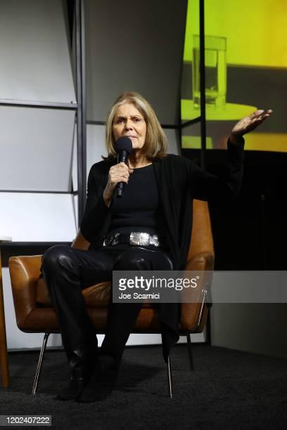 Writer, Political Activist and Feminist organizer, Gloria Steinem speaks onstage during the 2020 Women at Sundance Celebration hosted by Sundance...