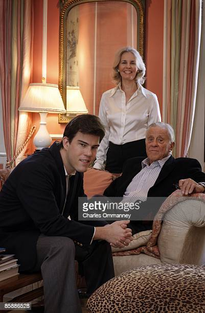 Writer Quinn Bradlee poses for a photo with his parents Ben Bradlee and Sally Quinn at their home on March 18 2009 in Washington DC