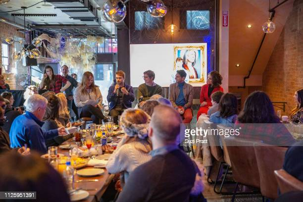 Writer Rachel Handler actors Daniel Radcliffe writer Simon Rich actors Karan Soni and Geraldine Viswanathan speak at the Miracle Workers Sundance...