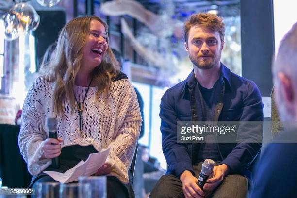 Writer Rachel Handler and actor Daniel Radcliffe speak at the Miracle Workers Sundance Hangover Brunch on January 26 2019 in Park City Utah