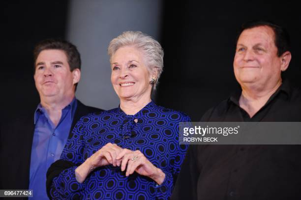 Writer Ralph Garman actress Lee Meriwether who played Catwoman in the 1966 Batman movie and Burt Ward who was Robin in the TV show appear at a...
