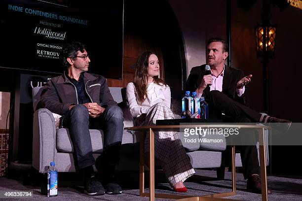 Writer Ramin Bahrani and actors Olivia Wilde and Jason Segel speak onstage at 'Indie Contenders Roundtable presented by The Hollywood Reporter'...