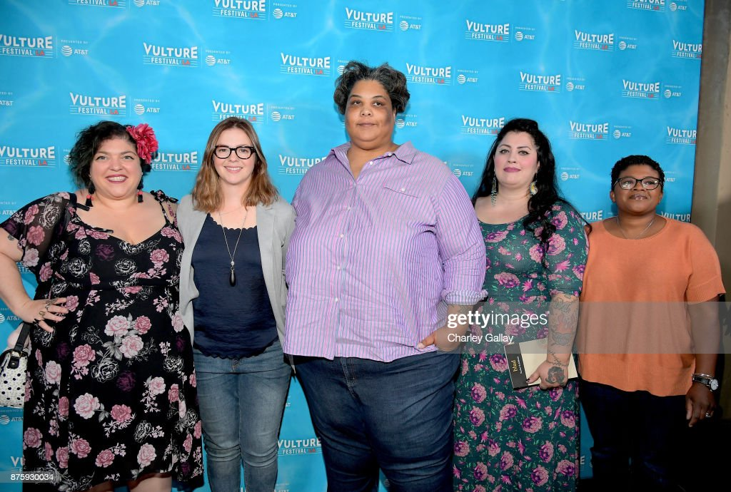 Writer Randa Jarrar, actor Amber Tamblyn, writer Roxanne Gay, writer Rachel McKibbens, and writer Attica Locke attend the 'Feminist AF' panel during Vulture Festival LA Presented by AT&T at Hollywood Roosevelt Hotel on November 18, 2017 in Hollywood, California.