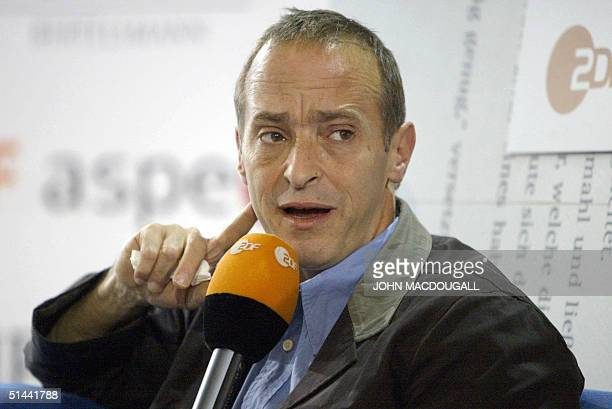US writer residing in France David Sedaris is interviewed by German TV channel ZDF during the Frankfurt Book Fair 08 October 2004 AFP PHOTO JOHN...