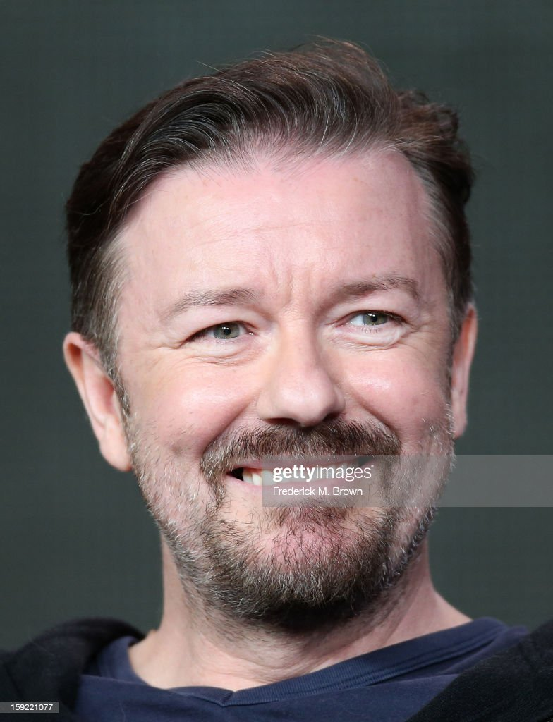 Writer Ricky Gervais of the television show 'Derek' speaks during the 2013 Winter Television Critics Association Press Tour at the Langham Hotel and Spa on January 9, 2013 in Pasadena, California.