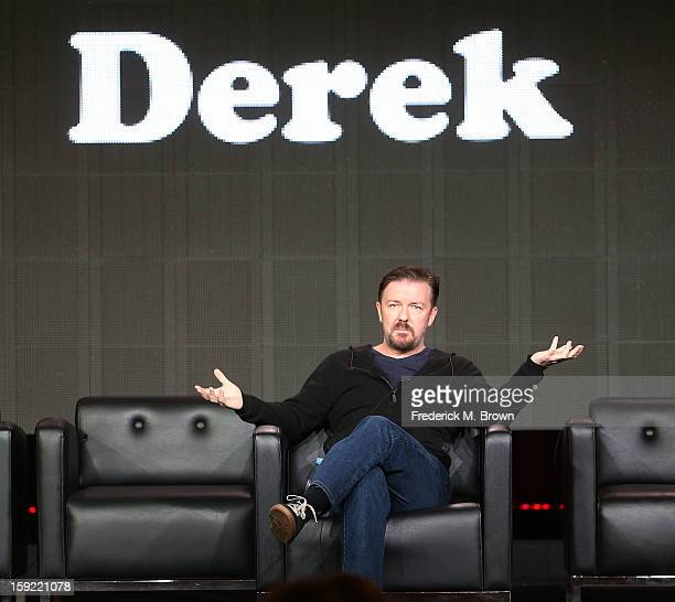 Writer Ricky Gervais of the television show Derek speaks during the 2013 Winter Television Critics Association Press Tour at the Langham Hotel and...