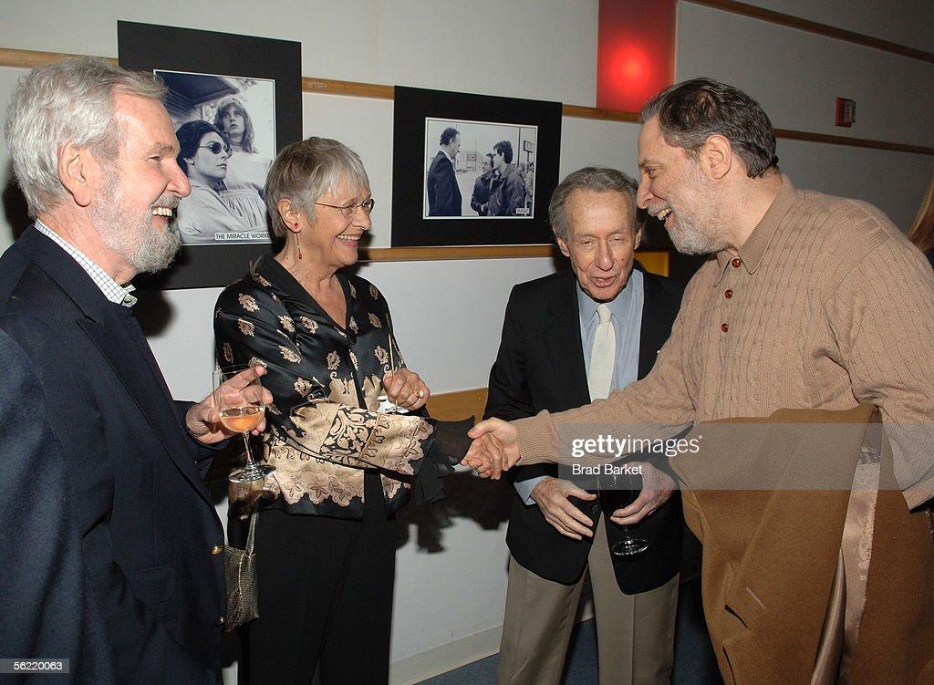 Writer Robert Benton, Estelle Parsons, Arthur Penn and Julian Schlossberg are seen at the Academy Pays Tribute To Arthur Penn at the Academy Theater at Lighthouse International on November 17, 2005 in New York City.