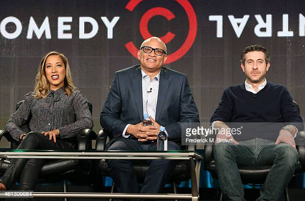 Writer Robin Thede host Larry Wilmore and executive producer Rory Albanese speak onstage during the 'The Nightly Show with Larry Wilmore ' panel at...