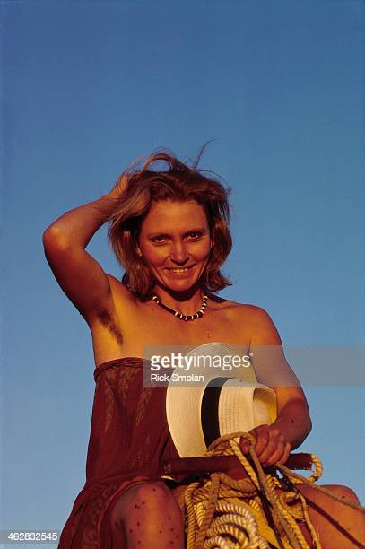 Writer Robyn Davidson is photographed for National Geographic in 1977 in the outback Australia PUBLISHED IMAGE