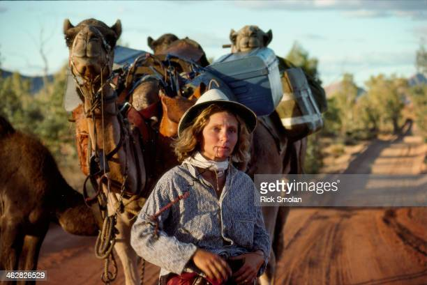 Writer Robyn Davidson is photographed with her camels for National Geographic in 1977 in the outback Australia Robyn felt the trip beginning to work...