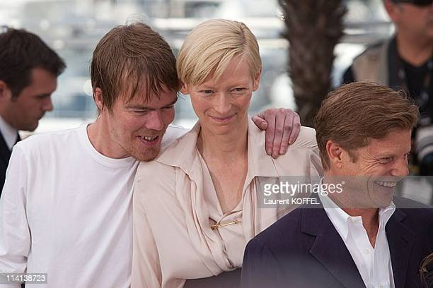 Writer Rory Stewart Kinnear actress Tilda Swinton and producer Luc Roeg attend the photocall of 'We Need to Talk About Kevin' presented in...