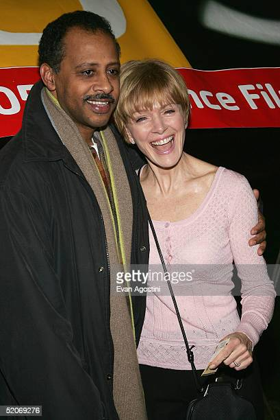 Writer Ruben SantiagoHudson and wife Jeannie Brittan attend the premiere of Lackawanna Blues at the Eccles Center for the Performing Arts during the...