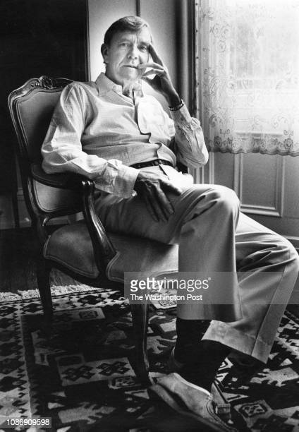Writer Russell Baker poses for a portrait at his home in Leesburg Virginia on July 21 1989