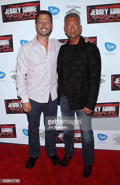 Writer Sal Governale and tv personality Larry Caputo attend the Jersey Shore Massacre New York Premiere at AMC Lincoln Square Theater on August 19...