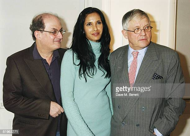 Writer Salman Rushdie actress Padma Lakshmi and artist David Hockney attend Private View for new exhibition 'Robert Mapplethorpe Curated By David...