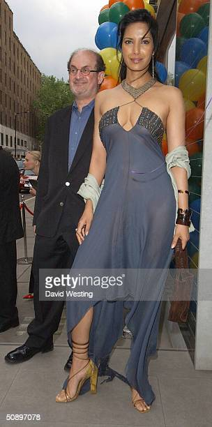 Writer Salman Rushdie and his wife Padma Lakshmi attend an exclusive party hosted by Vanity Fair magazine for British designer Stella McCartney on...