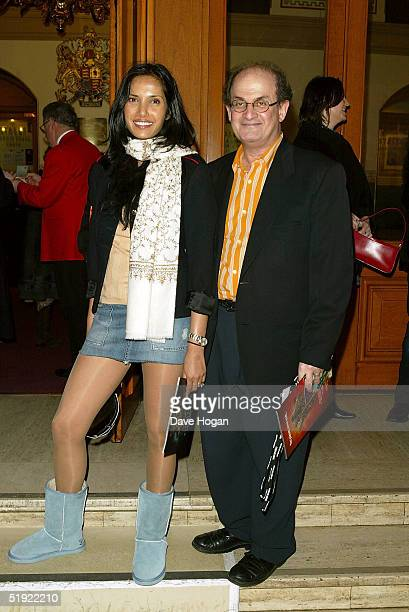 Writer Salman Rushdie and his wife Padma Laxmi arrive for the press night of Dralion Cirque Du Soleil on January 6 2005 in London