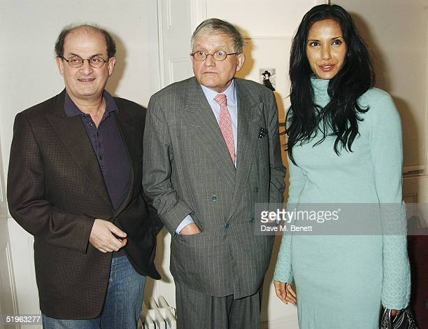 Writer Salman Rushdie artist David Hockney and actress Padma Lakshmi attend Private View for new exhibition 'Robert Mapplethorpe Curated By David...