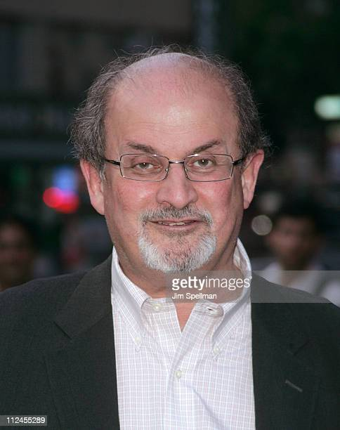 Writer Salman Rushdie attends The Cinema Society and Glamour screening of Elegy at the Tribeca Grand Screening Room on August 5 2008 in New York City