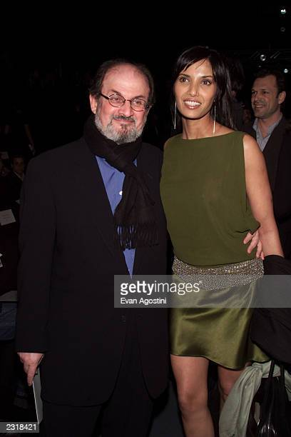 Writer Salman Rushdie with girlfriend Padma Lakshmi at the Luca Luca Fall 2002 fashion show at Bryant Park during the MercedesBenz Fashion Week...