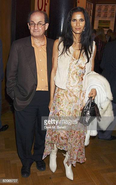Writer Salman Rushdie with wife actress Padma attend the Private View for 'The Triumph Of Painting' at the Saatchi Gallery County Hall on January 25...