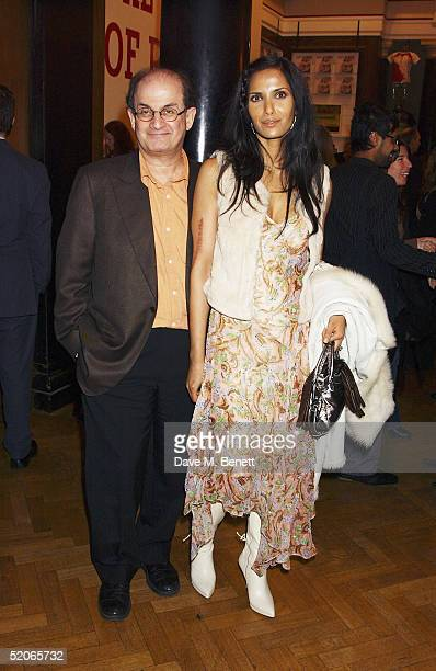 Writer Salman Rushdie with wife actress Padma attend the Private View for The Triumph Of Painting at the Saatchi Gallery County Hall on January 25...