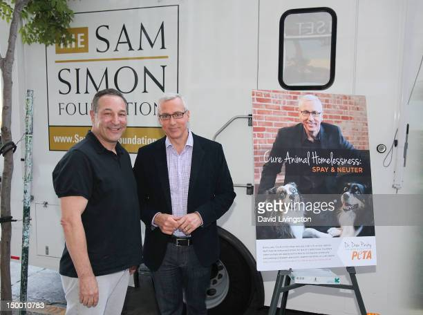 Writer Sam Simon and TV personality Dr Drew Pinsky attend Pinsky's unveiling of a new PETA campaign to cure animal homelessness on August 8 2012 in...