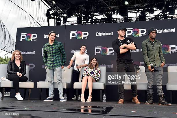 EW writer Samantha Highfill actors Tyler Posey Dylan Sprayberry Shelley Hennig Cody Christian and Khylin Rambo speak onstage during the 'Teen Wolf'...