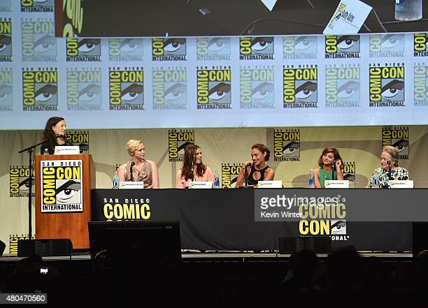 Writer Sara Vilkomerson and actresses Gwendoline Christie Hayley Atwell Gal Gadot Jenna Coleman and Kathy Bates attend the Entertainment Weekly Women...