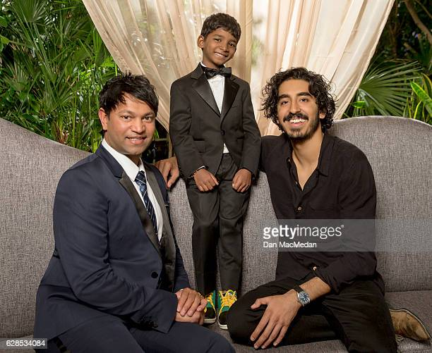 Writer Saroo Brierley actors Sunny Pawar and Dev Patel photographed for USA Today on November 12 2016 in Los Angeles California
