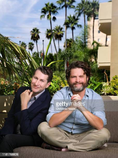 Writer Scott Aukerman and actor Zach Galifianakis are photographed for Los Angeles Times on September 16 2019 in Beverly Hills California PUBLISHED...